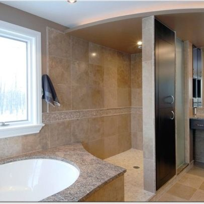 open walk-in shower next to spa tub | Bathroom-Remodel | Pinterest ...