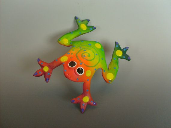 Whimsical Frog  Wall Hanging Frog by PondScumCeramics on Etsy, $21.00