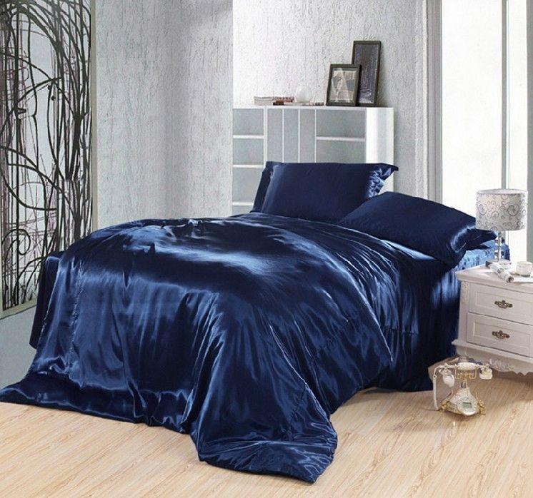 Click to Buy Dark blue bedding set silk satin california king