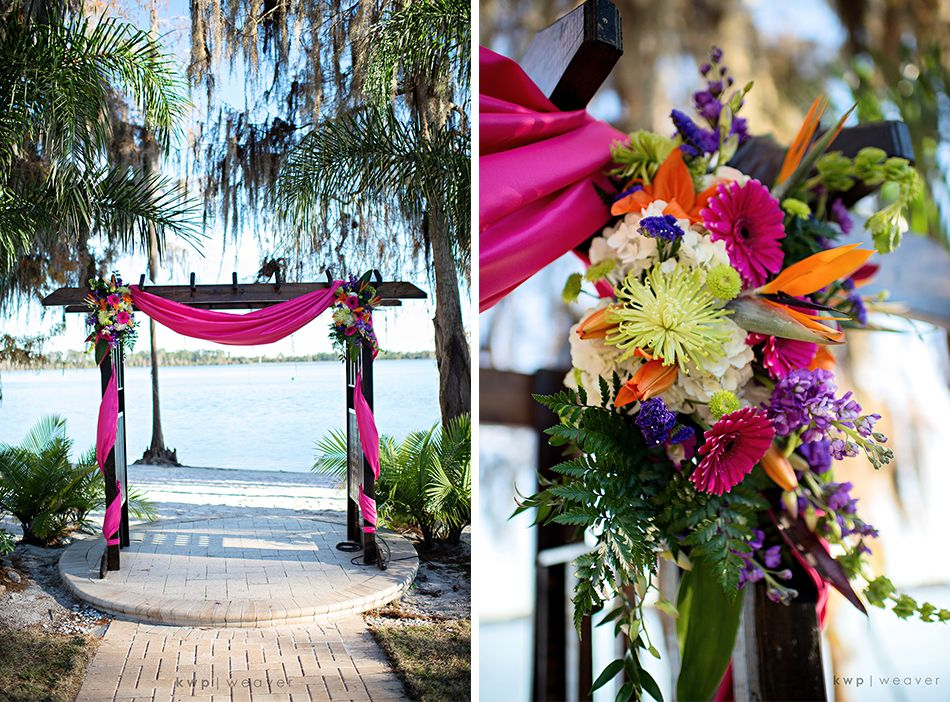 fabric drapery fuchsia pink and flowers on arch purple pink orange wedding wedding located. Black Bedroom Furniture Sets. Home Design Ideas