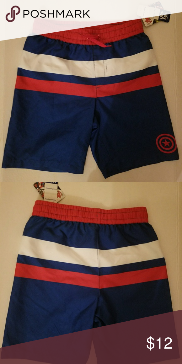 9b3a873529 Marvel Captain America Swim Trunks Captain America- Avengers swim trucks. Size  Large (10