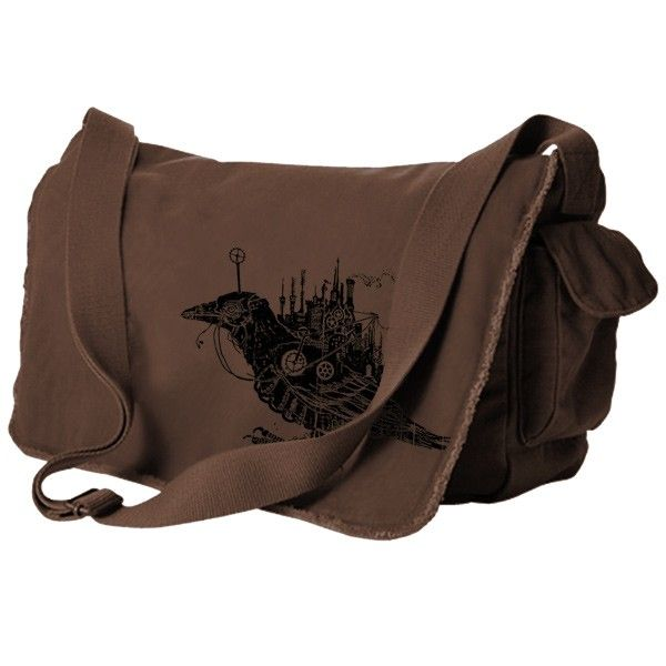 Handmade Gifts | Independent Design | Unique Jewelry Steampunk Bird Messenger Bag - Brown - i love him!