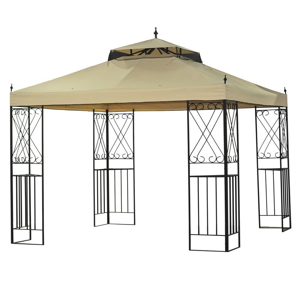 Unbranded Sparta 12 Ft X 10 Ft Gazebo L Gz288pst 4d The Home Depot Gazebo Replacement Canopy Gazebo Patio Gazebo