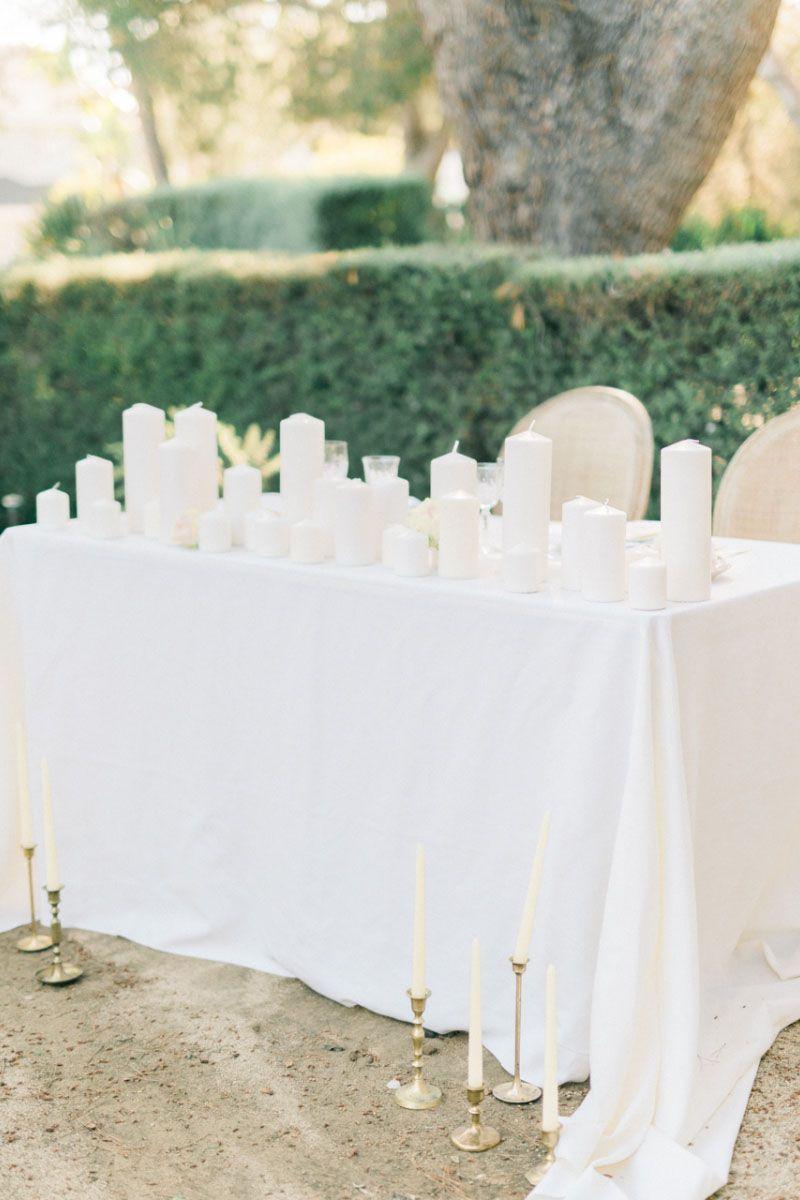 White wedding decoration ideas  All White Wedding Detail Inspiration  Sweetheart table Bride groom