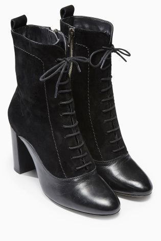 Buy Leather Material Mix Lace Up Ankle Boot online today at Next ...