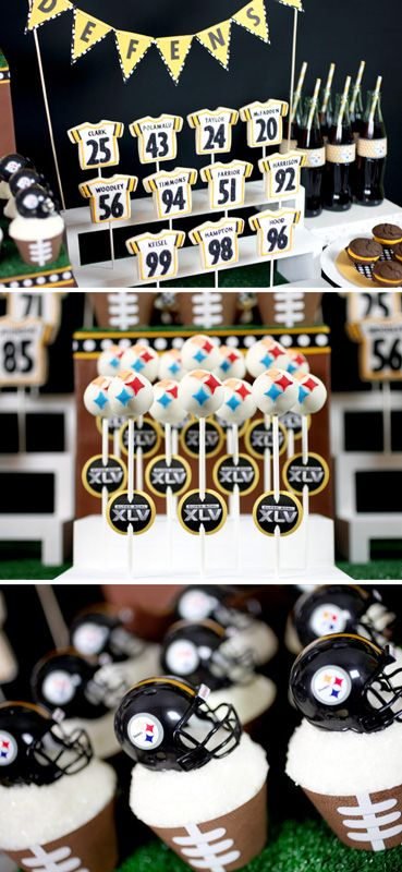 Football jersey decorated sugar cookie pops on bleachers, whoopie pies, cake pops and football wrapper cupcakes with helmet toppers / Superbowl sweets table from Bakerella.