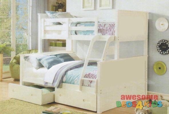 Jordon Double Single Bunk Bed White or Antique Oak