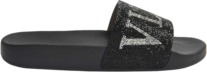 Crystal Pool Slides in Black Rubber and Crystals Valentino 1twd0Rzduc