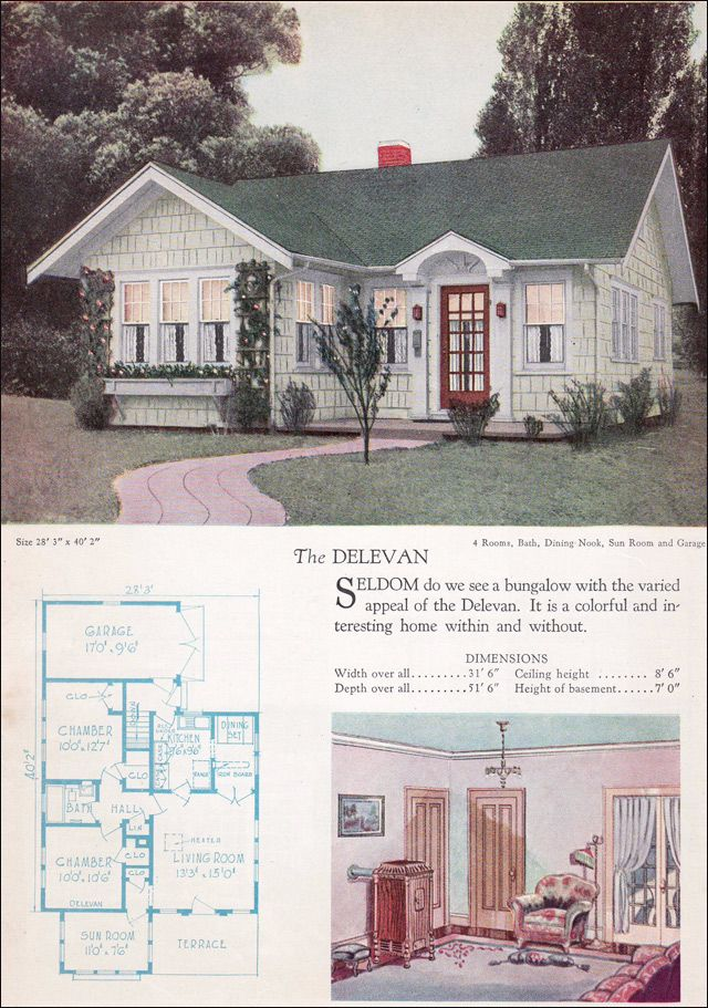 The Delevan is a tiny house from the 1928 Home Builders Catalog, which with minor editing of the plan could easily be reconfigured for today. The three-sided sun room could easily function as a summer bedroom. Who doesn't love fresh air sleeping? The plan is distinctive for its attached garage ... a relative rarity among small plan book homes of the 1920s.