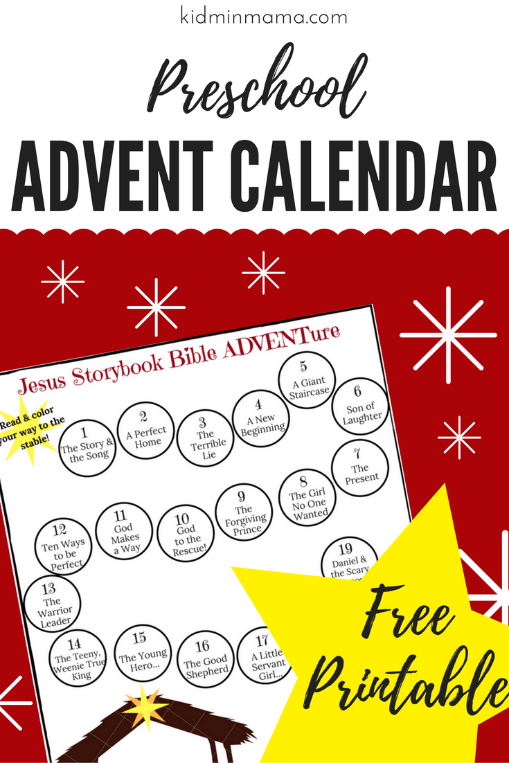 Printable Preschool Advent Calendar using the Jesus Storybook Bible