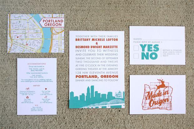 Holla For The West Coast Portland Oregon Wedding Invites