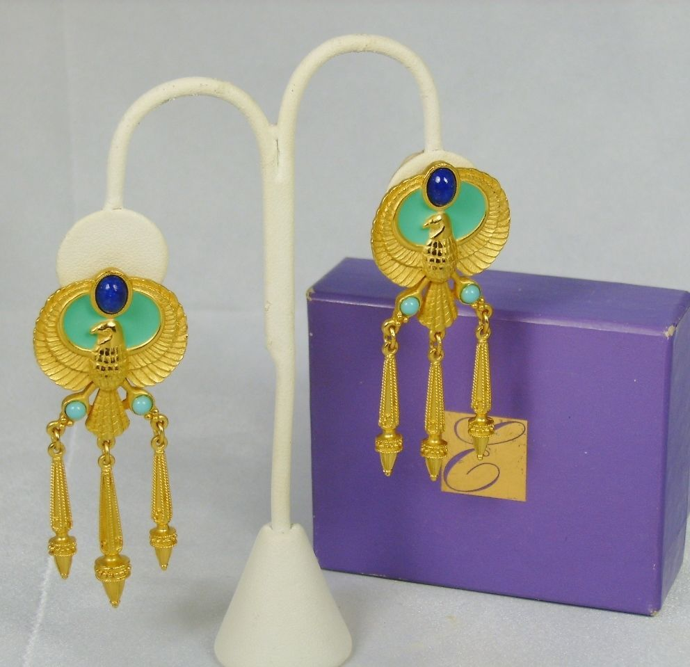 1993 Elizabeth Taylor for Avon Turquoise and Lapis Egyptian Style Earrings  Beautiful earrings for $119.99 or best offer!