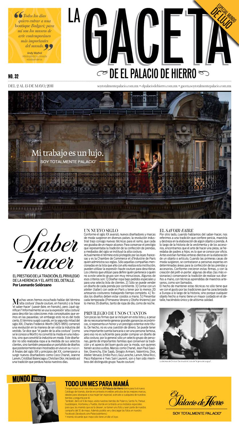 Portada Gaceta No. 32 - El Palacio de Hierro #editorial #design #gazette