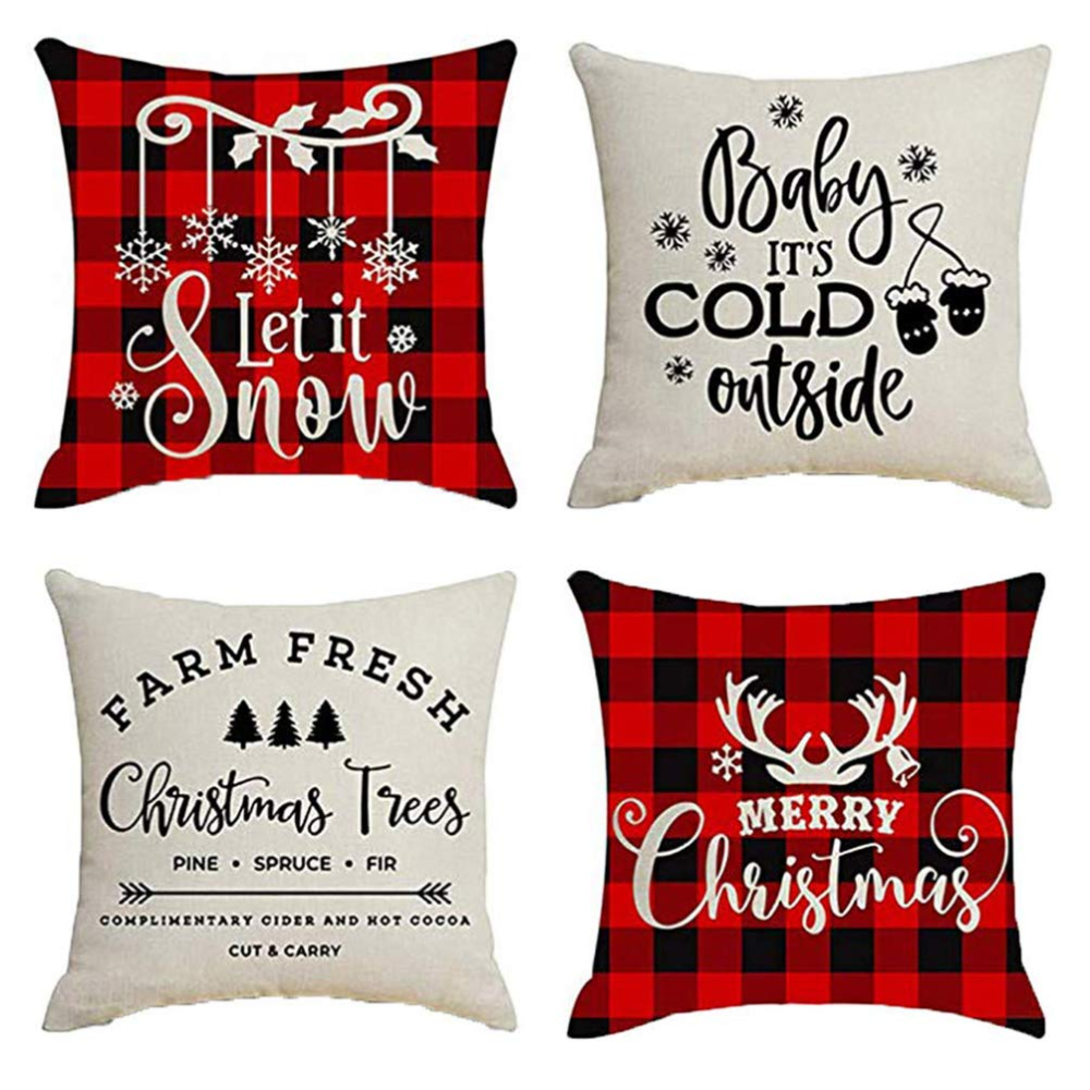 Sufam Set Of 4 Pillow Cases Christmas Santa Claus Baby It Cold Outside Deer Snowflake Elk Winter Plaid Throw Pillowcase Cover Cushion Case Home Decor 16x16 Inch Throw Pillows Christmas Christmas