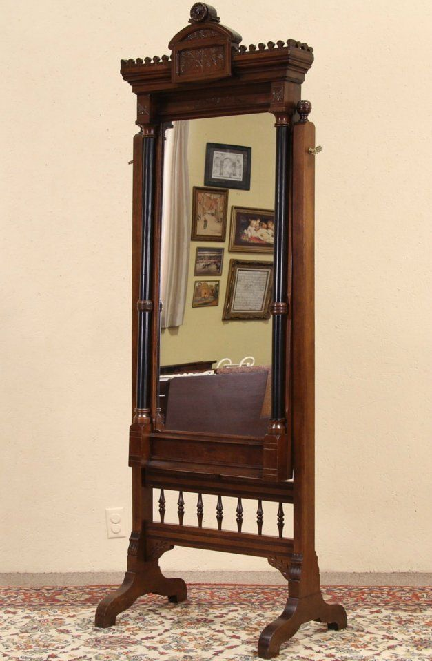 Victorian Eastlake Antique 1880 Dressing Or Swivel Cheval