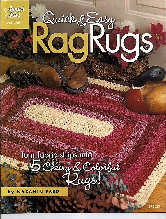 Quick Easy Rag Rugs To Crochet Using Fabric Strips Pattern Etsy Crochet Rag Rug Rag Rug Crochet Rug