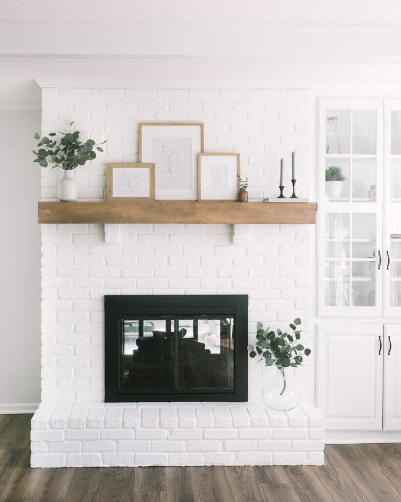 White Painting Brick Fireplace You'll Love