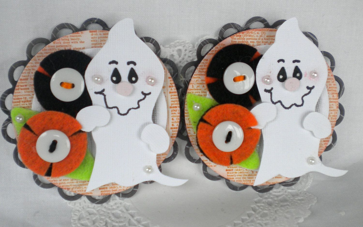 Sweet and Spooky  Halloween Embellishments. Friendly - G H O S T -