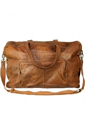 Tan 20 Inch Large Vintage Wash Leather Travel Duffle Hold-all Overnight Bag - Crosby by VIPARO | The Grand Social
