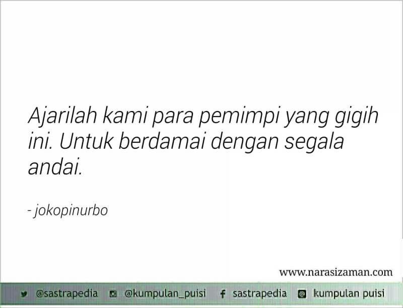 Berdamai Dengan Segala Andai Joko Pinurbo Indonesian Poetry Poem