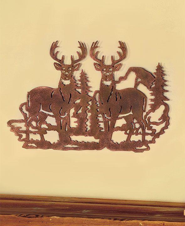 Deer die-cut wildlife wall metal art sculpture lodge log cabin ...