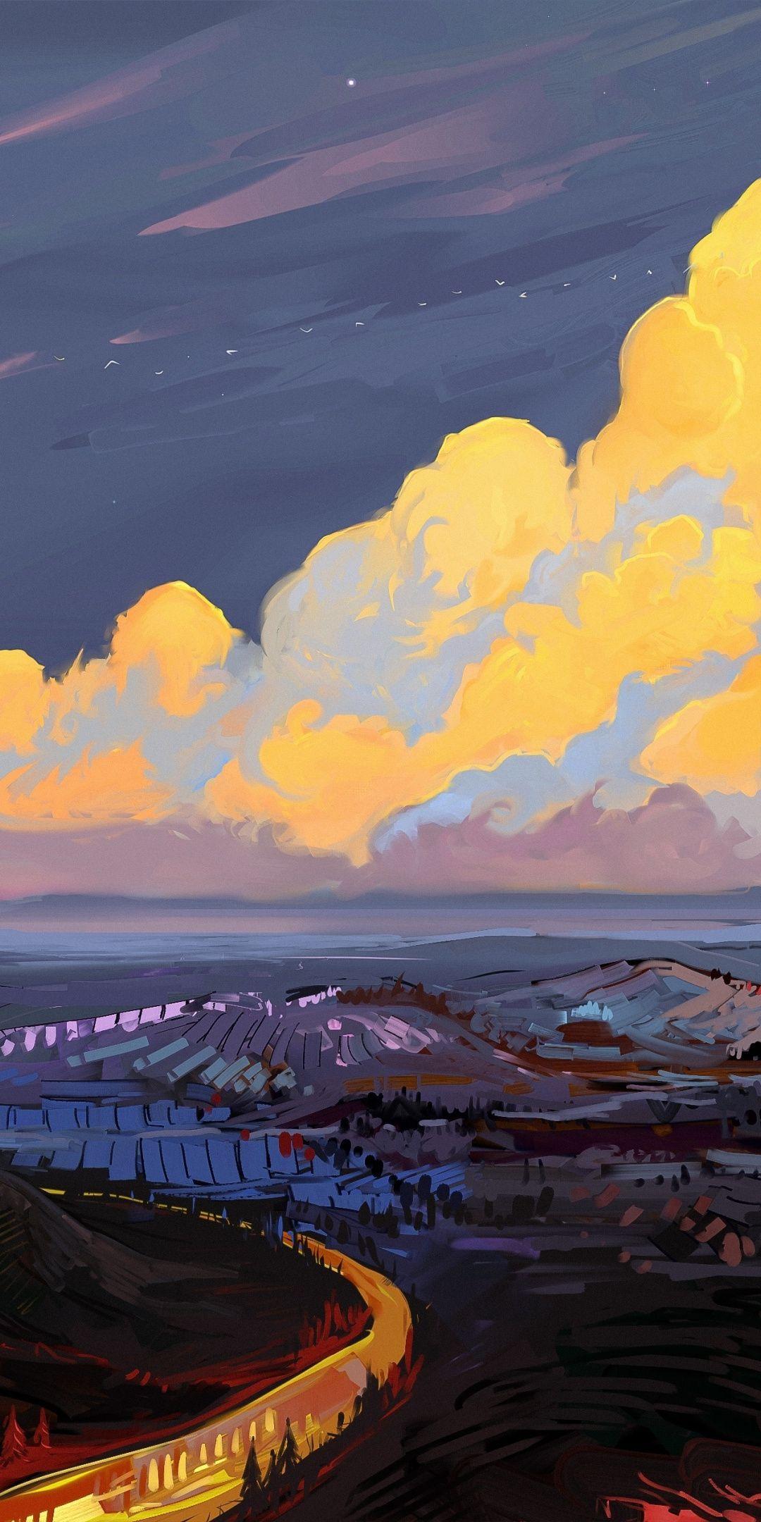 Artwork, clouds, landscape, 1080x2160 wallpaper