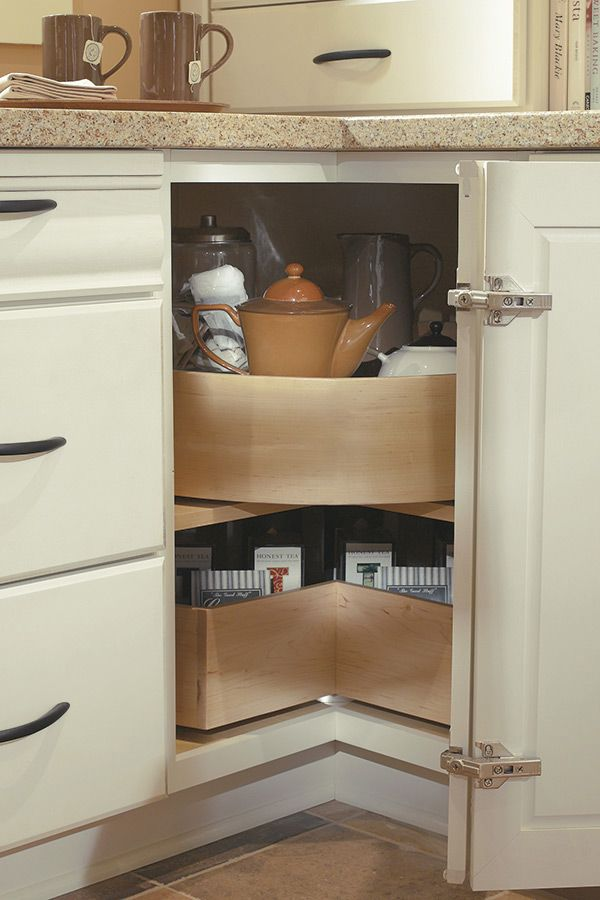 the convenience of a lazy susan with the added feature of a deep bin to keep taller it on kitchen organization lazy susan cabinet id=51692