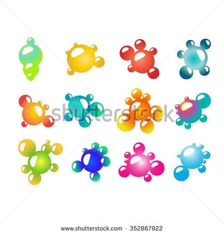 Gradient Logo Elements - Colorful bubbles, molecules - stock vector