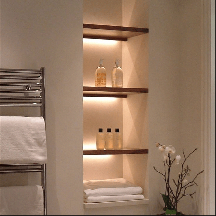 Bathroom-niche-shelves-wood #bathroomshelves (With Images