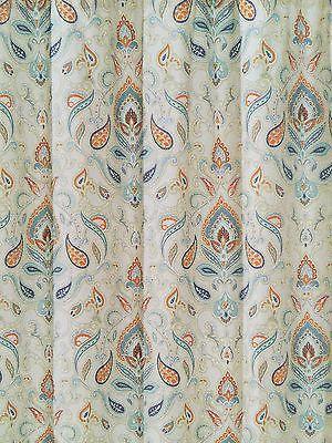 orange aqua blue fabric shower curtain