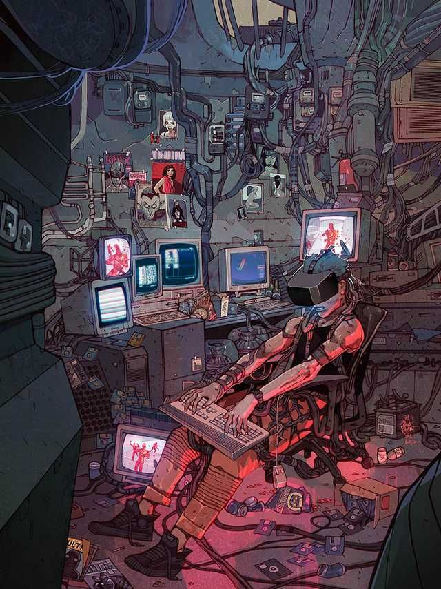 Cyberpunk(ish) workstations - photos and art