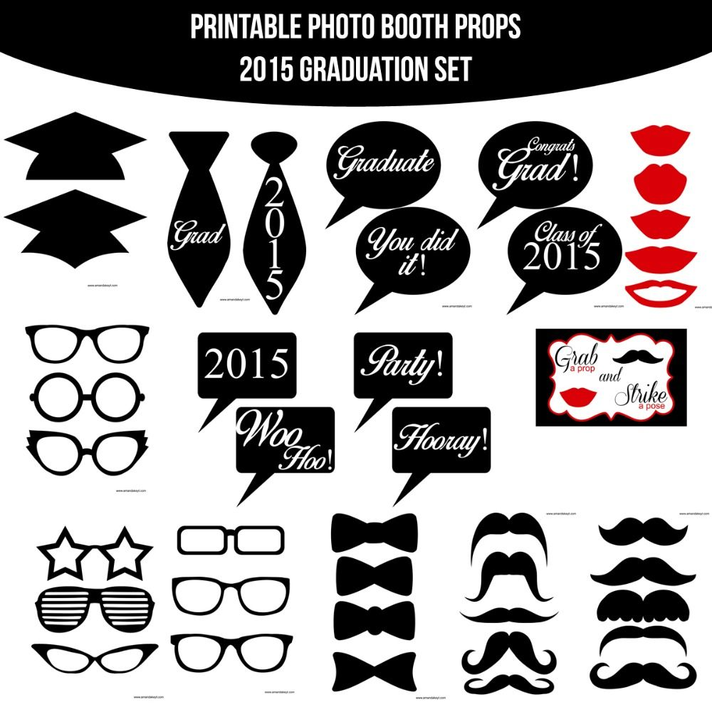 Photo Booth Quotes Instant Download Grad 2015 Printable Photo Booth Prop Set For