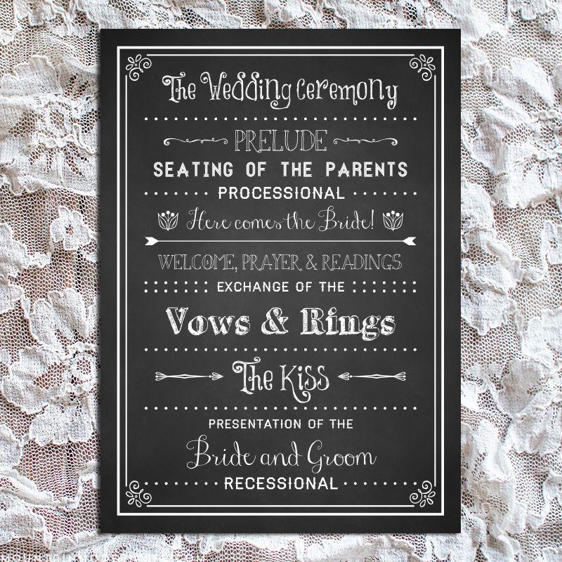 Printable Chalkboard DIY Wedding Program | Wedding programs, DIY ...