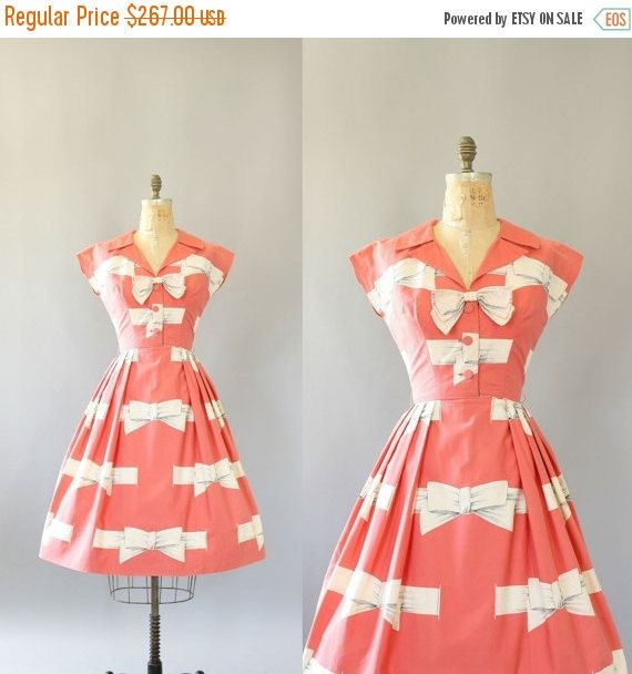 30% SALE Vintage 50s Dress/ 1950s Cotton by WhenDecadesCollide