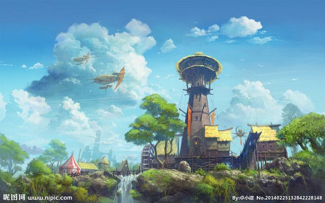 韩国游戏场景原画设计图 风景漫画 动漫 巴颜格日顺采集到游戏场景 271图 花瓣插画 fantasy concept art art world concept art
