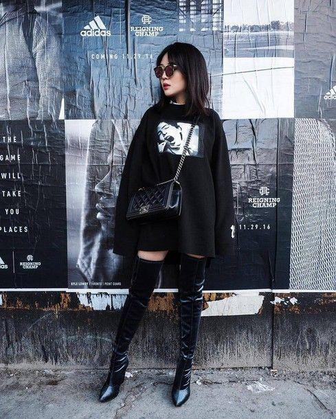 Shoes: tumblr black top sweater dress sweatshirt dress sweatshirt velvet  velvet velvet boots velvet
