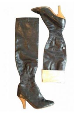 #Chanel Bottes Cuir souple noir doré 36,5 #kollas