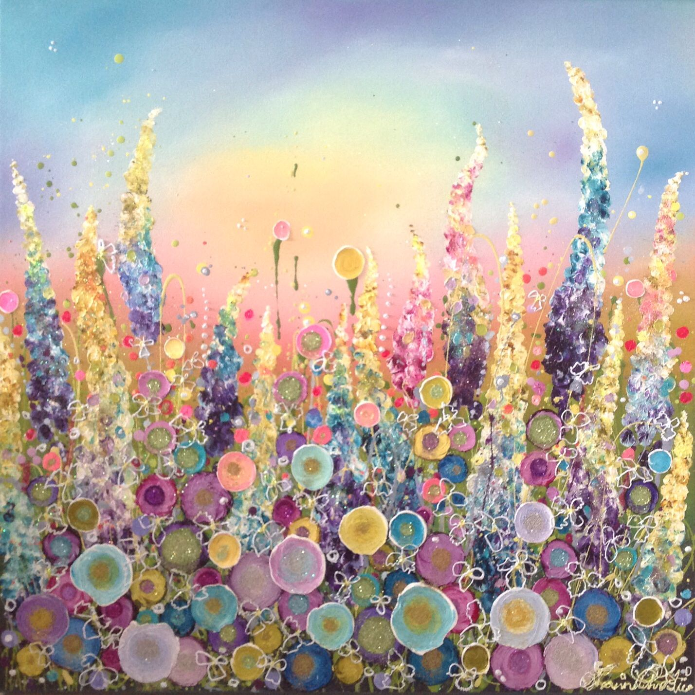 Glitter Glue And Paint Color Inspiration: Oil Art, Glitter Flowers, Sparkle