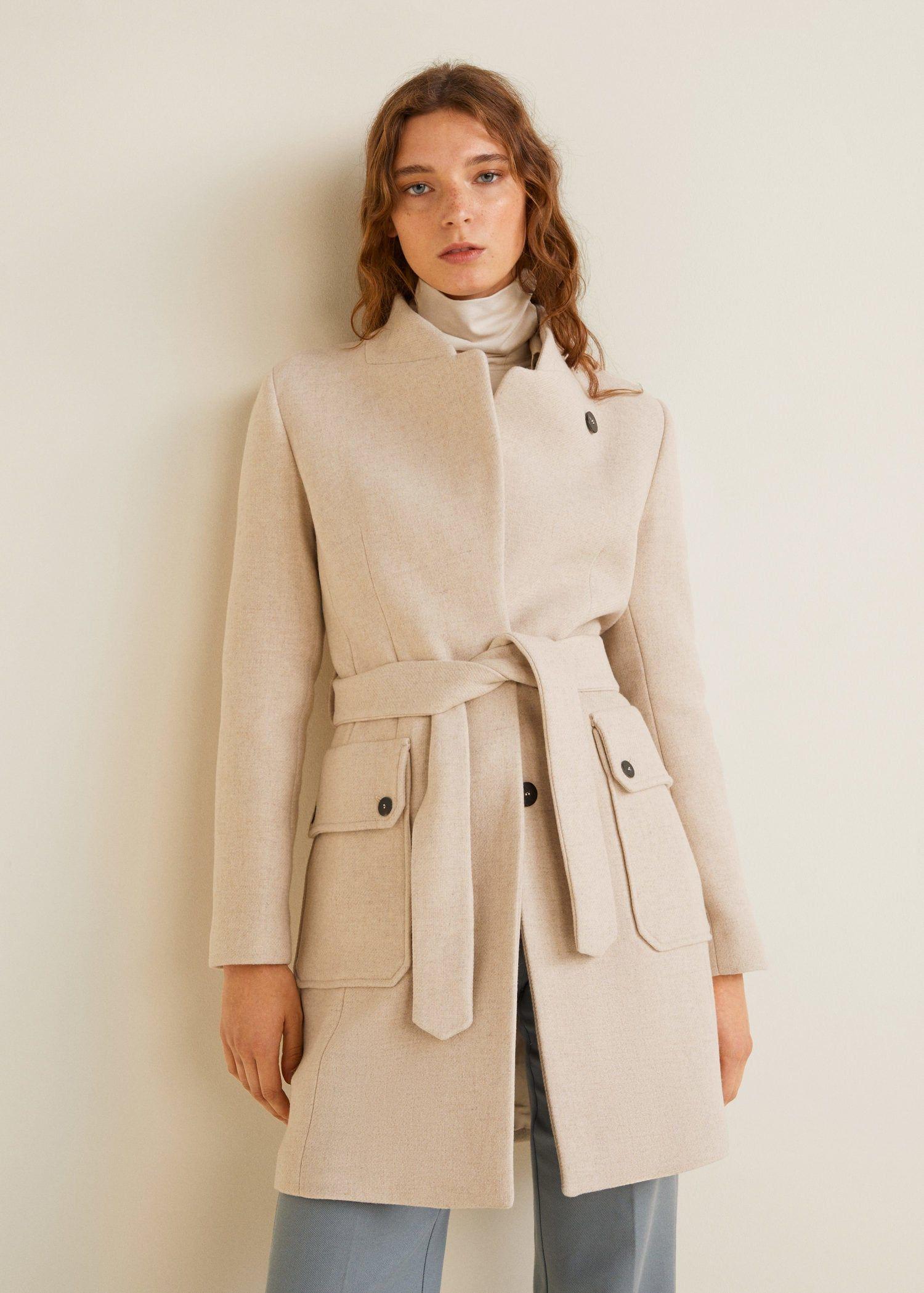 e865751853a Mango MARTE Manteau en laine avec ceinture -  Mango  ManteauMango  modefemme   ManteauFemme  Iziva  tendances  manteau  manteaux