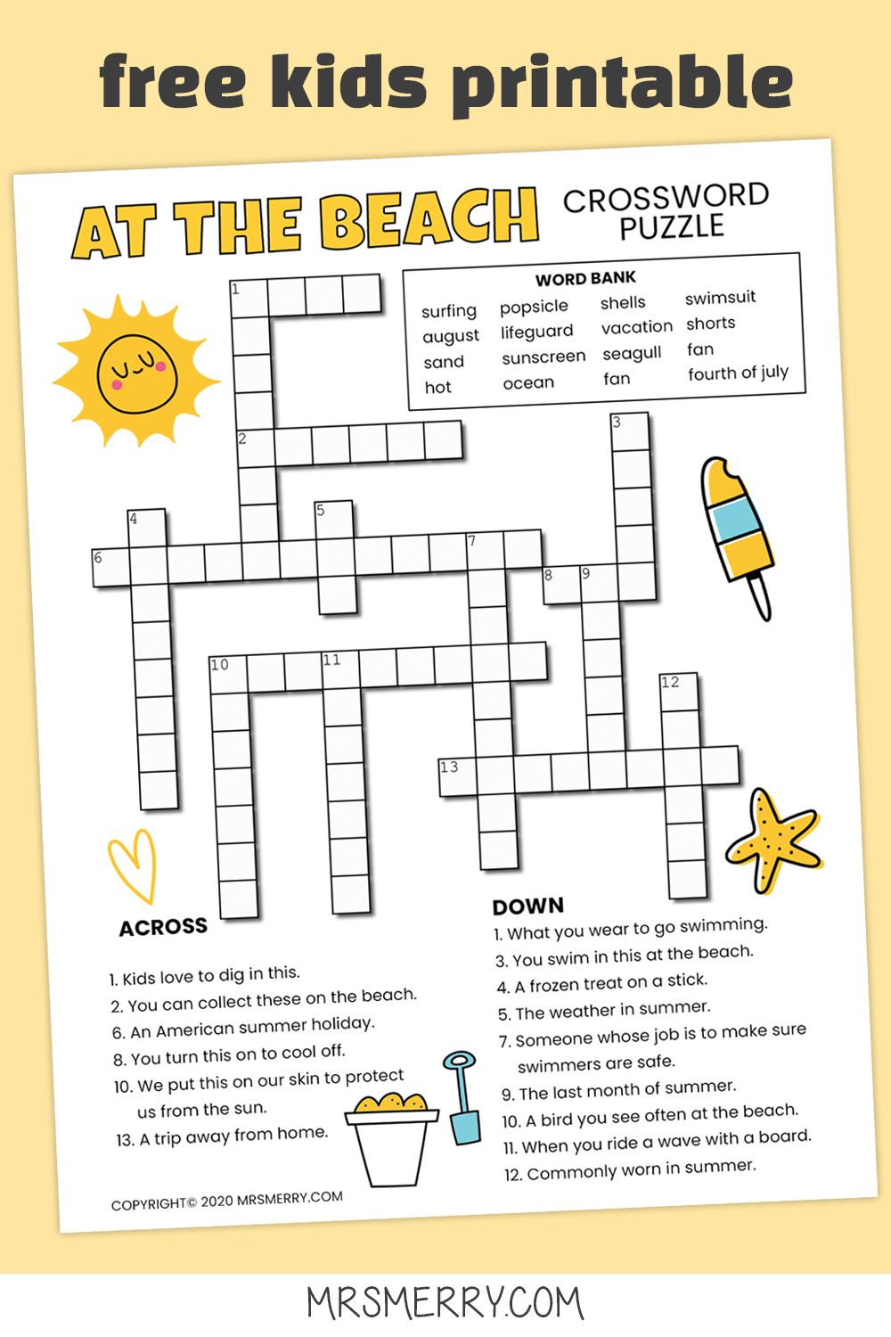 Beach Crossword Puzzle For Kids Free Printable Mrs Merry Printable Crossword Puzzles Puzzles For Kids Word Puzzles For Kids [ 1500 x 1000 Pixel ]