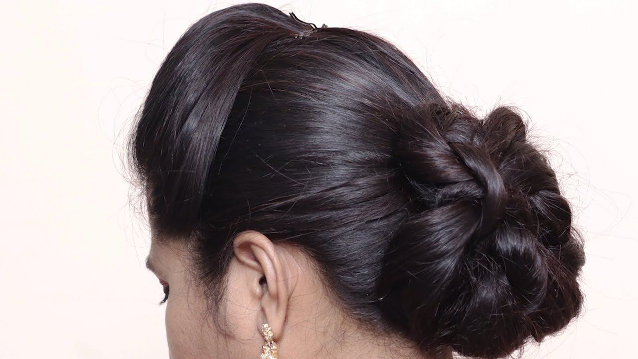 Simple & Easy Bun Hairstyle for Beginners   Party ...
