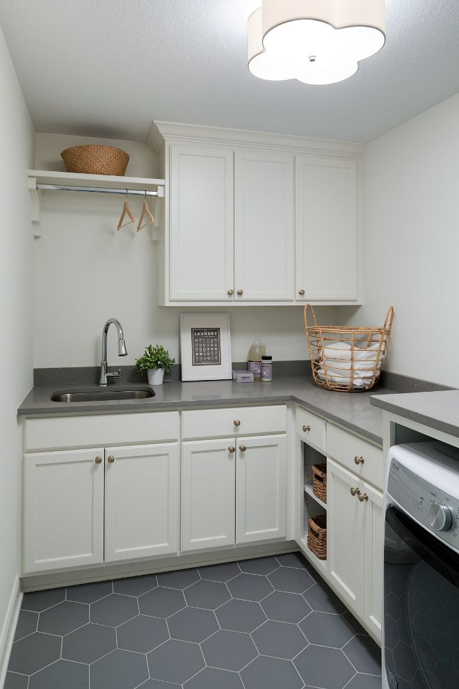 Best Laundry Room With Grey Quartz Countertop And Grey Hex 640 x 480