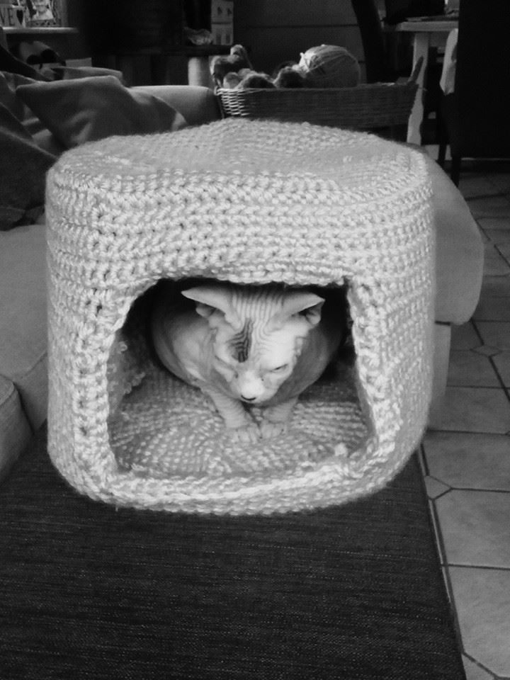 This cat cave is been crochet by me.