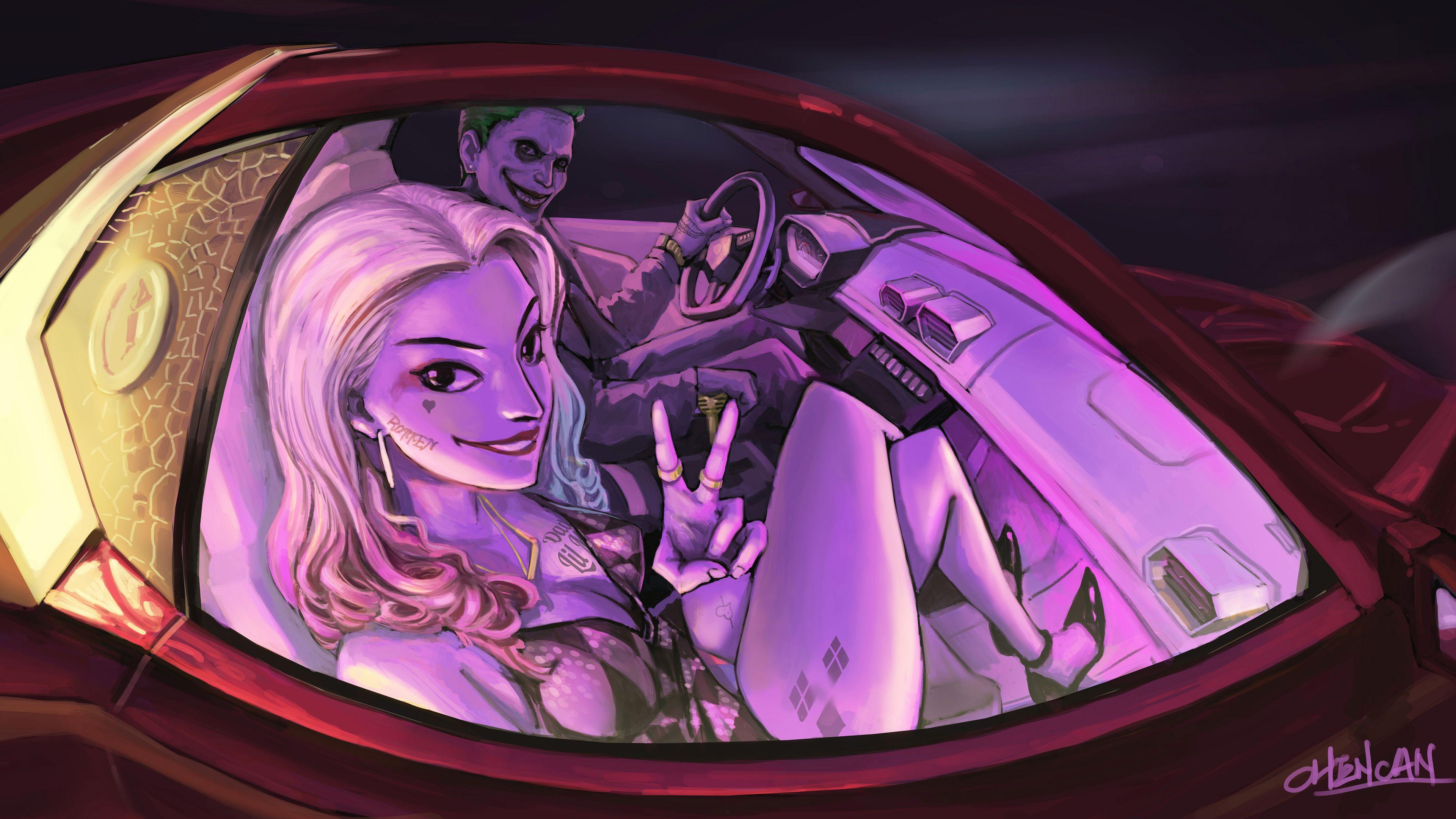 Joker And Harley Quinn In The Car Artwork 4k Superheroes Wallpapers