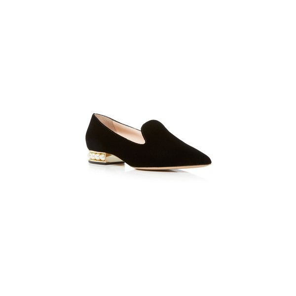 Nicholas Kirkwood Casati Pearl Loafer (5,040 HKD) via Polyvore featuring shoes, loafers, loafer shoes, black loafers, pearl shoes, kohl shoes i black loafer shoes