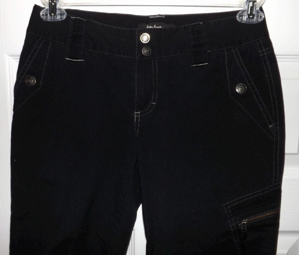 Daisy Fuentes Women's Black Denim Capri Jeans Sz 4P w/ Zip Cargo Pocket 30 x 19 #DaisyFuentes #CaprisCropped