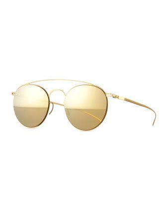 GOING GOLD !!Round+Stainless+Steel+Double-Bridge+Sunglasses+by+MYKITA+++Maison+Margiela+at+Neiman+Marcus.