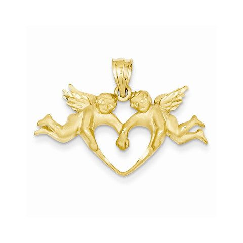 14k Yellow Gold Satin Angels Heart Pendant