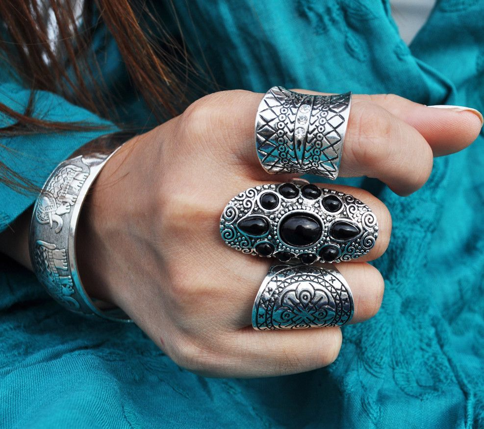 Boho Black and Silver Rings
