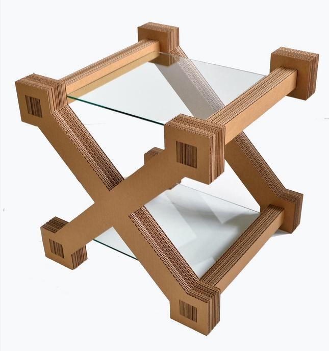 столик из гофрокартона и стекла